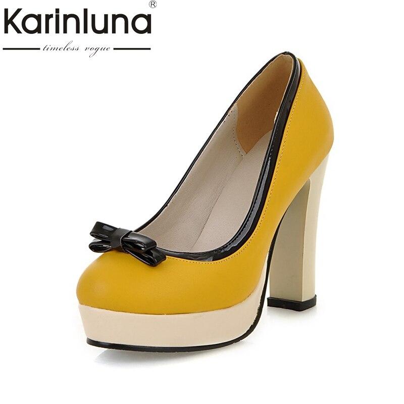 KarinLuna 2018 Womens Sweet Bowtie Knot Party Wedding Shoes Woman High Heels Platform Pumps Big Size 33-43<br>