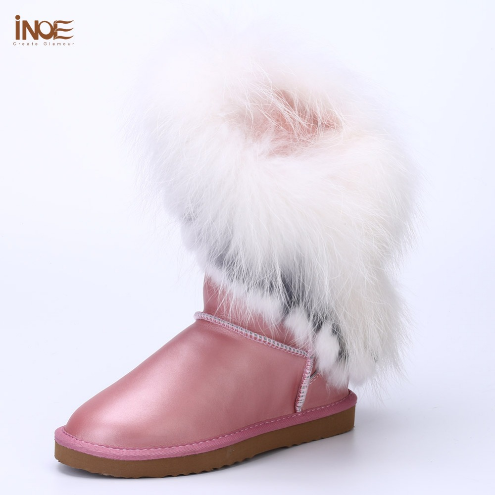 Details about women luxury diamond fashion snow boots rabbit fur boots - Fashion Fox Fur High Snow Boots For Women Fringed Tassels Real Sheepskin Leather Wool Fur Winter