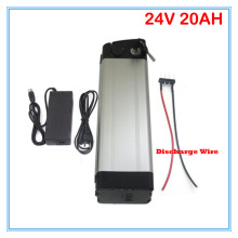 Bottom discharge 700W Silver fish 24V 20AH lithium battery 24V ebike bike battery Use 3.7V 2000MAH Cell 3A charger 30A BMS(China)