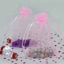 100x Light pink Organza Pouch Gift Bags Fit Wedding invitations  gift bag  ,best gift for visitor in wedding ,HQ