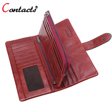 CONTACT'S Long Organizer Genuine Leather Men Wallet Women Coin Purse Phone Clutch Brand design Lady Card Holder Money Bag Red