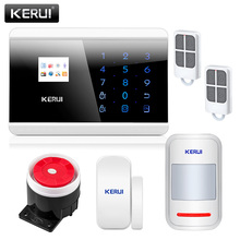 Russian Stock KERUI 8218G Russian Voice APP IOS PSTN GSM Alarm System Dual Net Touch Dual APP Controlled Home Security