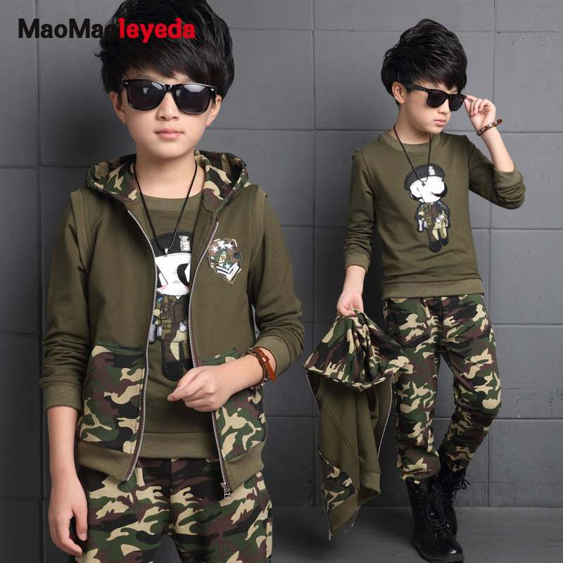 Spring big boys camouflage clothing set 3pcs for children 100%cotton glasses green big kids Hooded Jacket T-shirt pant clothes<br>
