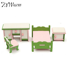 Modern 4 Pcs Miniature Doll House Bedroom Wooden Furniture Ornament Set Kids Role Pretend Play Toy Decor Crafts Children Gifts