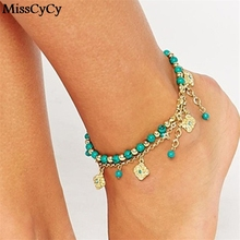 MissCyCy 2016 Lucky Kabbalah Fatima Hamsa Hand Blue Flowers Foot Jewelry Double Beads Turkish Ankle Bracelet For Women Anklet(China)