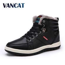 VANCAT Brand Winter Men Fashion Leather Boots Casual Men Leather Moccasin Winter Men Shoes Men Ankle Boots Cheap Cowboy Boots(China)