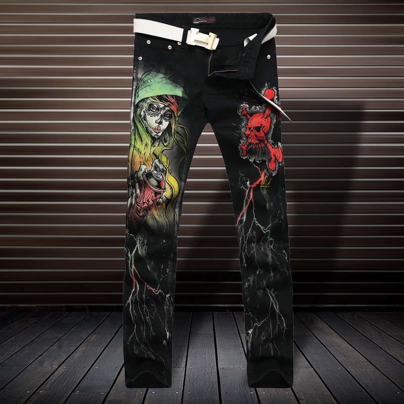 Devil skull painted printing fashion personality boutique jeans European and American style straight slim high-quality jeans menОдежда и ак�е��уары<br><br><br>Aliexpress