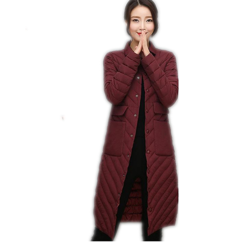 2017 New Thin&amp;Light Winter Women Down Cotton Long Jacket Parka Female Single Breasted Outerwear Cotton Parka High Quality CQ445Îäåæäà è àêñåññóàðû<br><br>