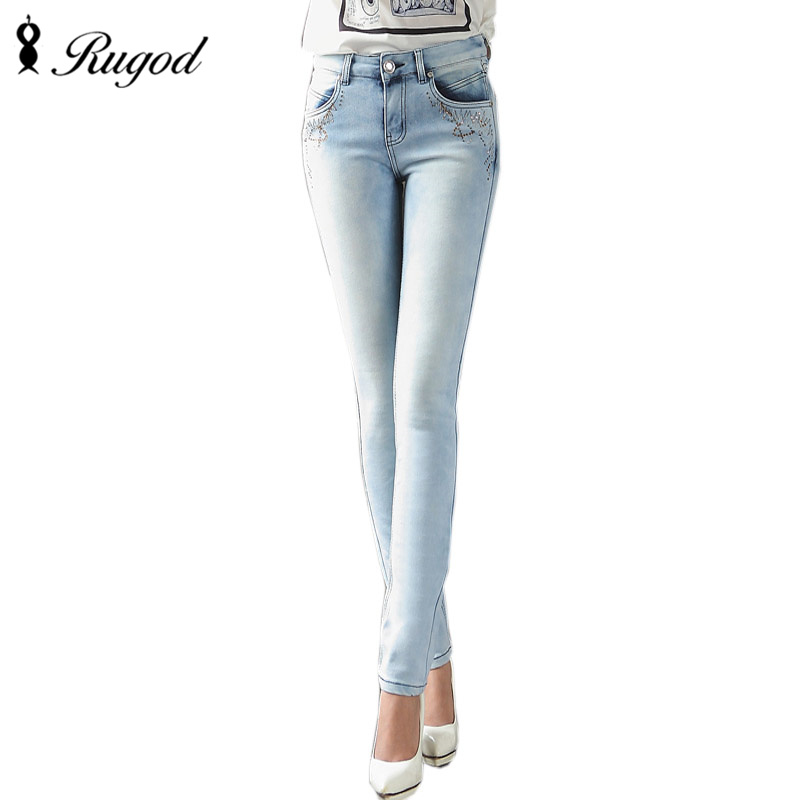 2017 Classic Style Straight Jeans Women Mid Waist Light Blue Jeans Female Elastic Denim Pants Female Trousers Of Good QualityОдежда и ак�е��уары<br><br><br>Aliexpress
