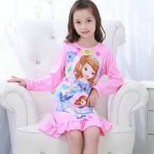 Children dress girls long sleeved spring and autumn nightdress Children's Clothing big girl Home sleepwear kids Robe&Nightgowns(China)