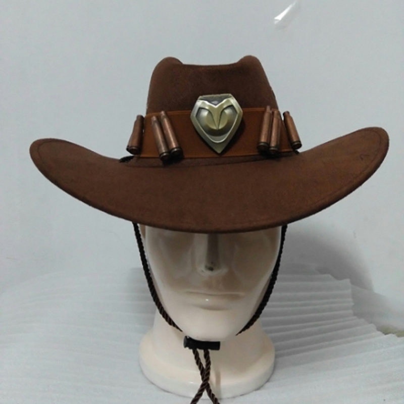 Hot Game Overwatch McCree Cowboy Hat with Badge Cosplay Costume Prop Accessory