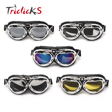 Triclicks Helmet Steampunk Chrome Motorcycle Flying Goggles Vintage Pilot Biker Goggles 5 Colors Lens Protective Gear Glasses(China)