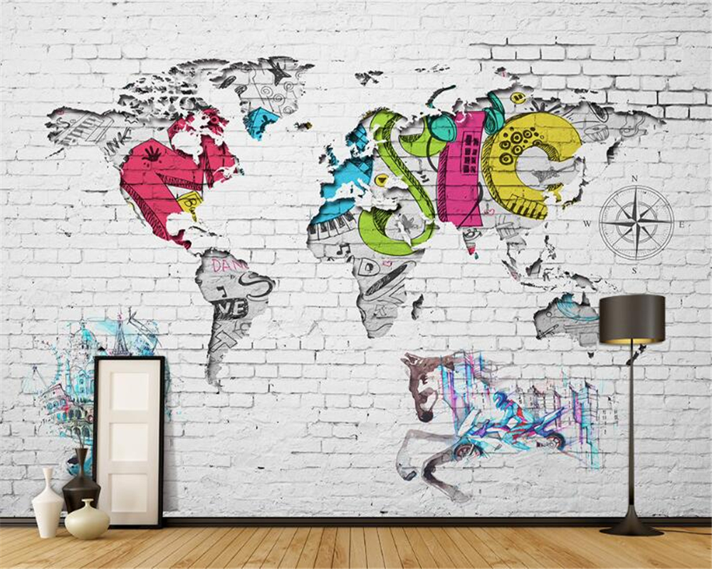 Custom 3D Wallpaper Fresco Living Room Bedroom TV Backdrop World Map Nordic Graffiti Wallpaper for walls 3 d papel de parede<br><br>Aliexpress