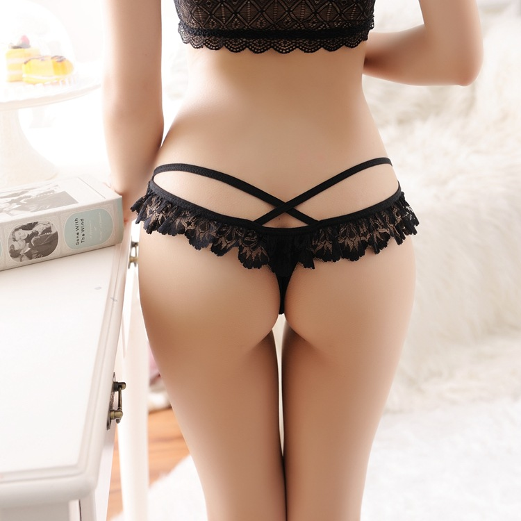 Sexy G String Women Lace Transprent Low Waist Thongs Underwear Briefs(China (Mainland))