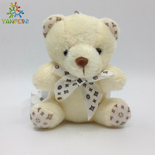 2017 New 2pcs/lot Sitting 9cm Teddy Bear Plush Pendant Soft Toys For Bouquets Joint Bear mini Teddy Bear Toys For Keychain 3.54""