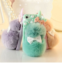 high quality rex rabbit hair adorable rabbit plush real fur ball mobile phone case for Samsung Galaxy Note4/Note3(China)