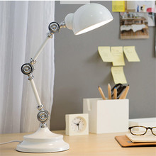 L19-Nordic Style LED Read Lights Metal Robot Table Lamp Swing Arm Desk Reading Lamp High Quality Vintage Bedside Lamp(China)