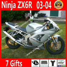 Free custom Fairings for motorcycle Kawasaki 2003 2004 ZX6R 03 04 Ninja 636 Silvery OEM fairing part 7 Gift VN34(China)