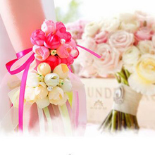 Cheap 50Pcs Wrist Flower Rose Silk Ribbon Bride Corsage Hand Decorative Wristband Bracelet Bridesmaid Curtain Band Clip Bouquet