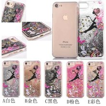 Dynamic Liquid Glitter Stars Sand Quicksand Butterfly Girl Crystal Clear Cartoon Cover Cell Phone Case For iphone 7 7 Plus