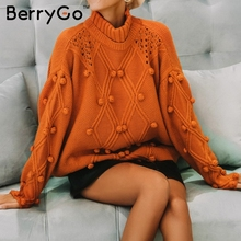 BerryGo Turtleneck winter woman knitted pullovers Long sleeve loose vintage sweater