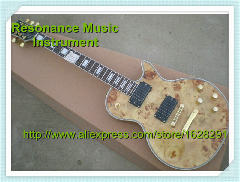 Newest Arrival LP Rotten Wood Top Custom Electric Guitar Natural Color EMG Style Pickup & LP Guitar Kit and Body Available(China (Mainland))