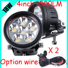 "Only 28USD/PCS,4"" 18W 1500LM 10~30V,6500K,LED working light;Free ship!Optional wire;motorcycle light,forklift,tractor light"