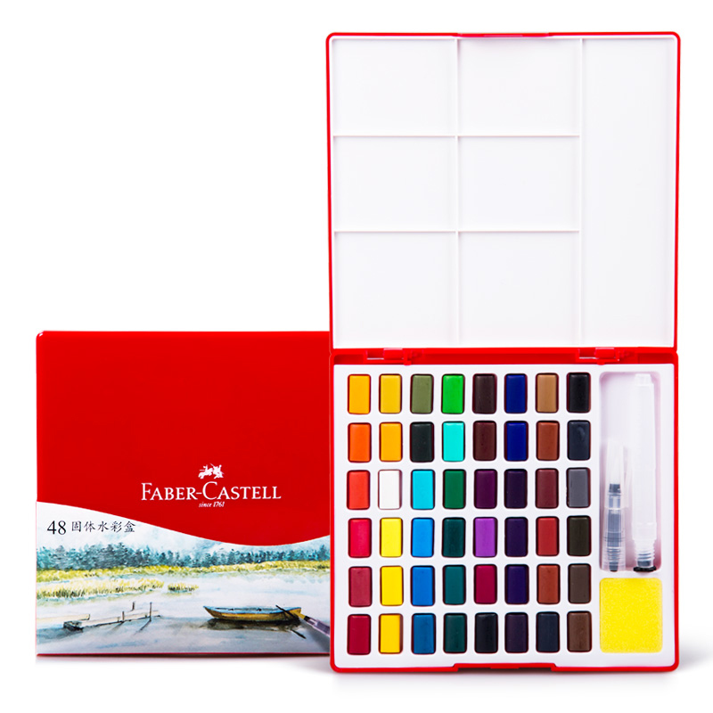 FABER CASTELL Solid Color 24/36/48 Color Transparent Beginner portable watercolor hand-painted set<br>
