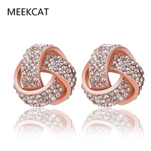 MEEKCAT Fashion Jewelry Silver & Rose Gold Color Knot Stud Earrings for Woman Micro Pave Clear CZ Small Earrings Brincos