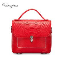 VESNAZIMA  crocodile ladie's top-handle handbags genuine leather red blue satchel messenger bag for girl crossbody bag VZ127ZN