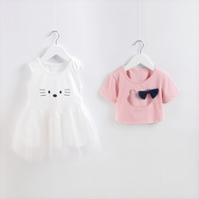2017 fashion newborn baby girl summer cotton clothing set hello kitty clothes for children girl brand suit kids birthday clothes