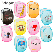 Behogar 10 Styles Cartoon Animal Foldable Toy Shoes Organizer Sundries Storage Box Mesh Laundry Dirty Clothing Clother Basket(China)