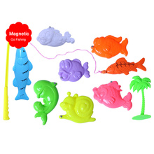 10pcs/Set Magnetic Fishing Toys Game for Kids Fish Baby Bath Toys Outdoor Funny toys for children kids pesca fish hungry games