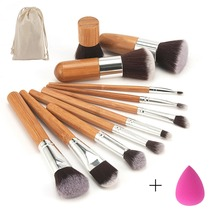 11 pcs/set Bamboo Handle Makeup Brushes Set Kit Eyeshadow Concealer Blush Foundation Brush With Blending Cosmetic Sponges Puff