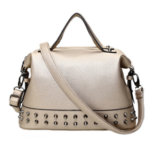 YEJIA FASHION Rivet Women Work Office Totes Bag PU Leather Handbag Casual Lady Shoulder Bags Large Capacity Cross Body Bags