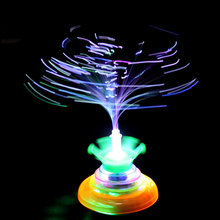 1PC Colorful Crown fiber optic flashing music gyro peg-top Electric spinning top gyroscope Creative Kids UFO toy boy gift Random(China)