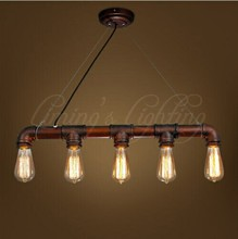 LOFT VINTAGE Edison Iron Personalized Bar Lighting Counter Lamps Vintage Pendant Lights Water Pipe Lamp 5pcs E27 bulbs 110V-240V