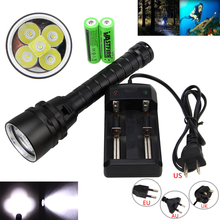 Underwater 100m 15000lm 5xT6 LED Aluminum Diving Flashlight Torch Light +2x18650 Battery + Charger(China)