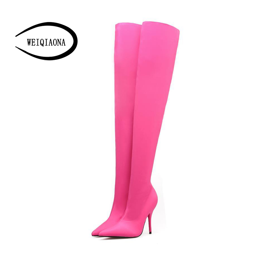 2017 Ladies winter boots fashion sexy thin legs multi-color Elastic cloth high heel boots thigh high boots womens<br>