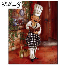 FULLCANG Cook recipe painting full square diy 5d diamond painting cross stitch kits mosaic embroidery painting home decor F363