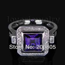 Vintage Princess 7x7mm Diamond Purple Amethyst Ring In 14Kt Gold Round Baguette Diamond Fine Jewelry
