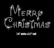 "Free shipping 7""Merry Christmas iron on rhinestone transfer applique patch your color choice"