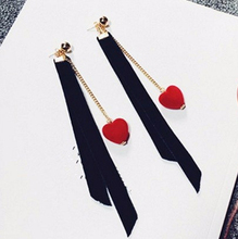 2017 Korean Vintage Harajuku Style Red Heart Black Flannelette Ribbon Long Chain Drop Earrings Brincos For Women