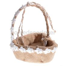 Hessian Burlap Lace Pearl Big Heart Shape Flower Girl Basket Bridesmaid Accessory Wedding Ceremony Favor 26cm