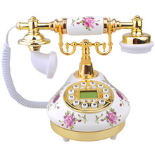 Retro Vintage Antique Style Floral Ceramic Decoration Crafts Desk Telephone Phone with real telephone function home decor(China)