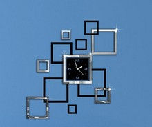 New 3D DIY Mirror Wall Clock Modern Design Square Shaped De Parede Wall Watch Sticker Decorating Office Living Room