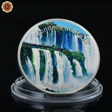 WR Iguazu Falls Brazil Landscape Commemorative Silver Coin with Plastic Case 40*3mm Round Collectible Coin for Birthday Gifts(China)