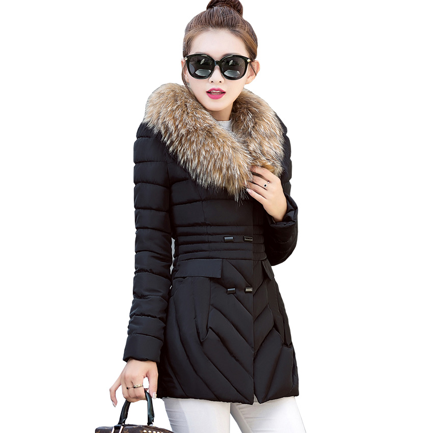 Down jacket Autumn and winter new womens long coat down jacket imitation fox fur collar thick warm fashion Slim down jacketОдежда и ак�е��уары<br><br><br>Aliexpress