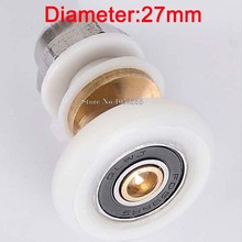 Brand New 2PCS 27mm Dia Partiality Shower Bath Door Rollers Runners Wheels Pulleys Long Lasting E190-4