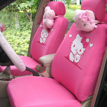 MUNIUREN 10PCS Pink Cartoon Hello Kitty Universal Car Seat Covers Accessories Seat Decoration Protector Cover Women Car Styling(China)